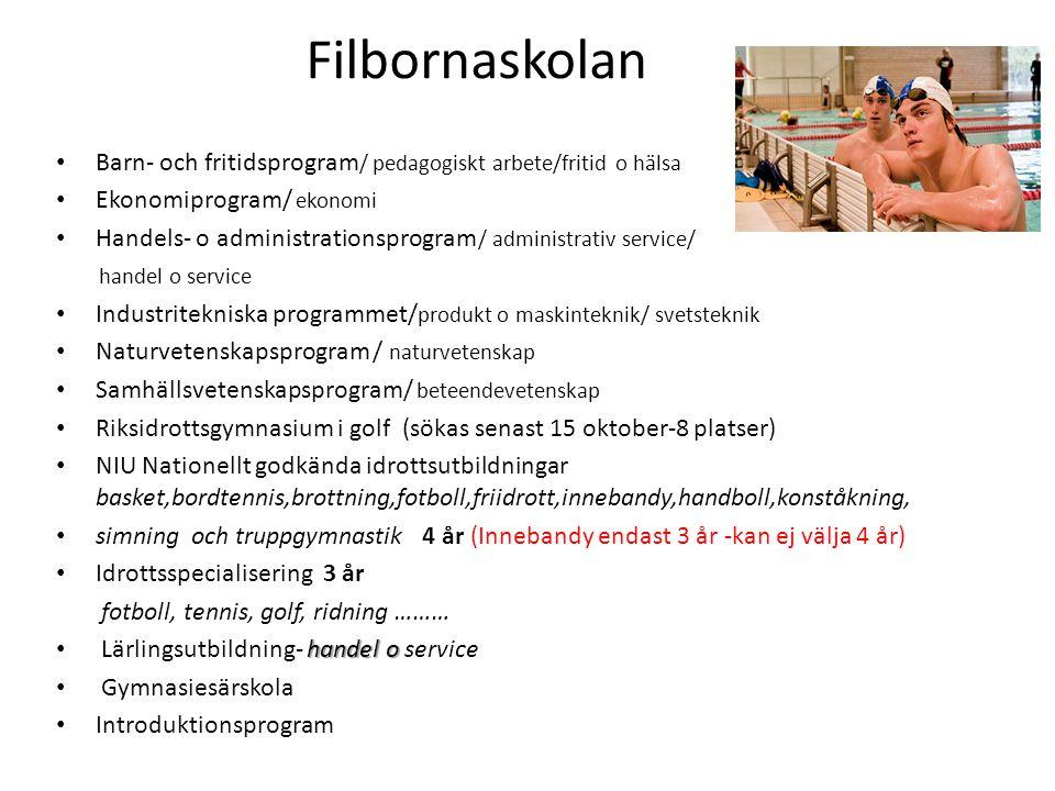 Filbornaskolan Barn- och fritidsprogram/ pedagogiskt arbete/fritid o hälsa. Ekonomiprogram/ ekonomi.