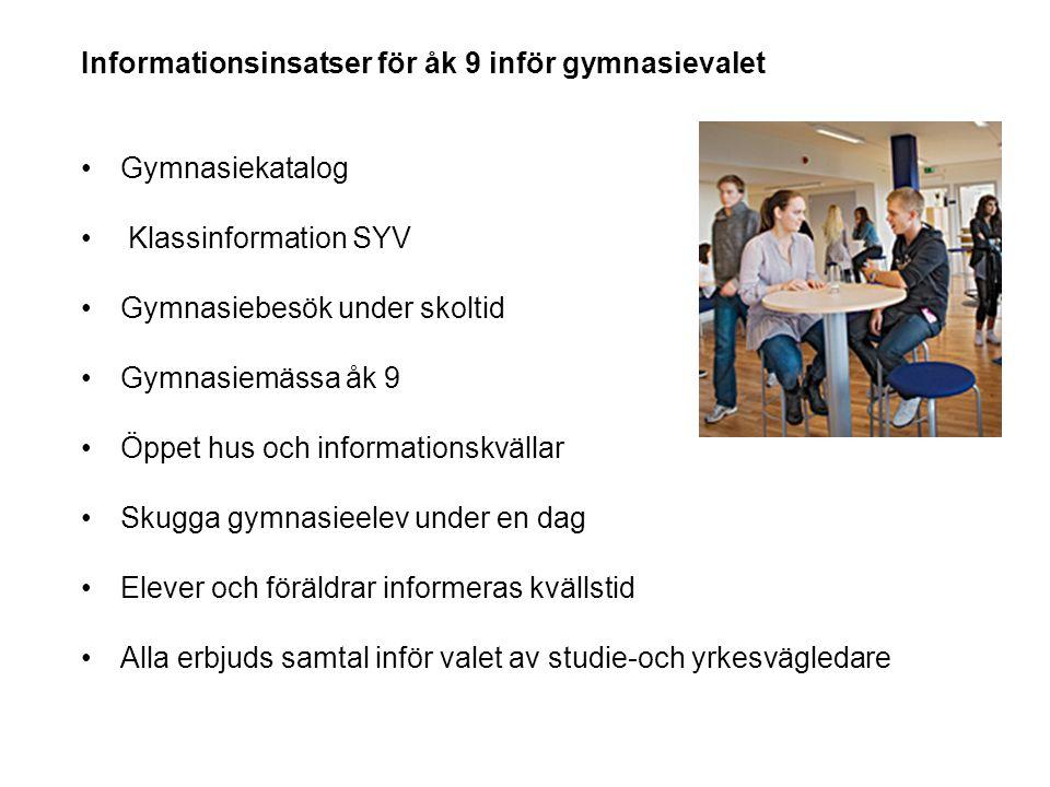 Informationsinsatser för åk 9 inför gymnasievalet