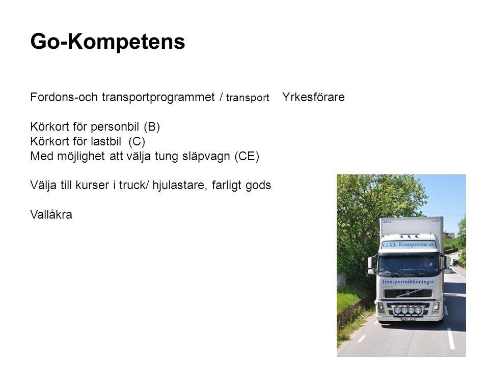 Go-Kompetens Fordons-och transportprogrammet / transport Yrkesförare