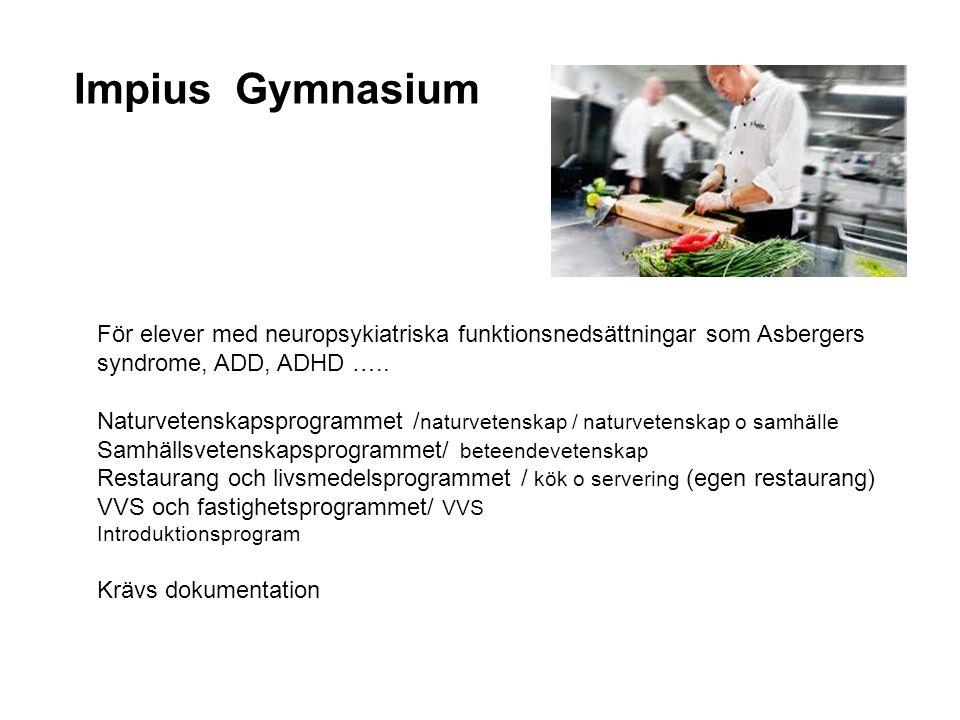 Impius Gymnasium För elever med neuropsykiatriska funktionsnedsättningar som Asbergers syndrome, ADD, ADHD …..