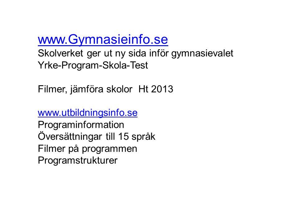 www.Gymnasieinfo.se Skolverket ger ut ny sida inför gymnasievalet