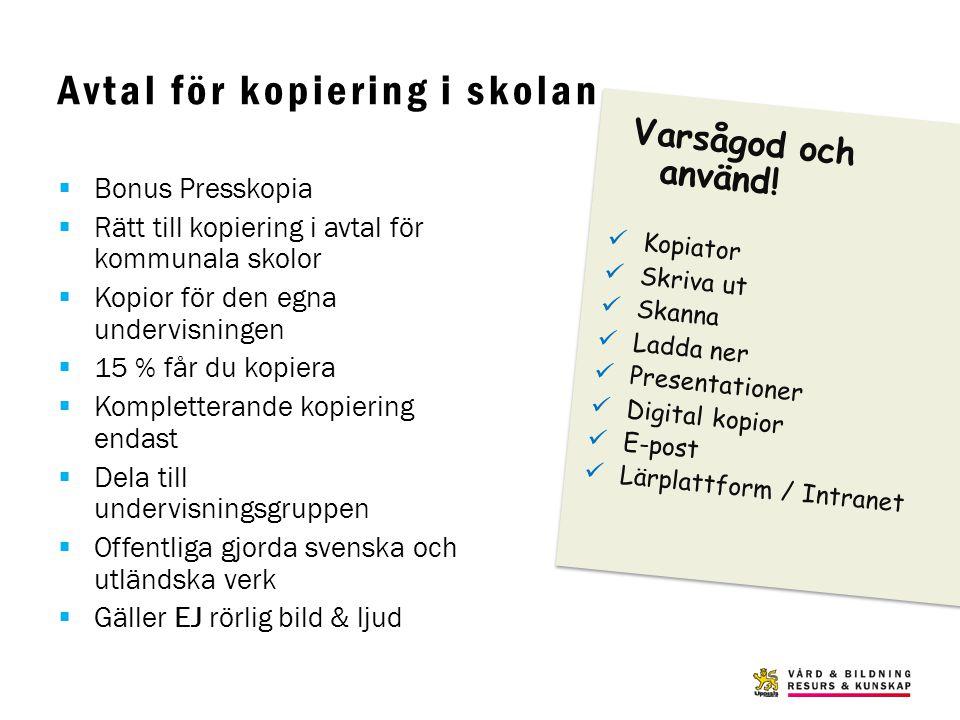 Avtal för kopiering i skolan