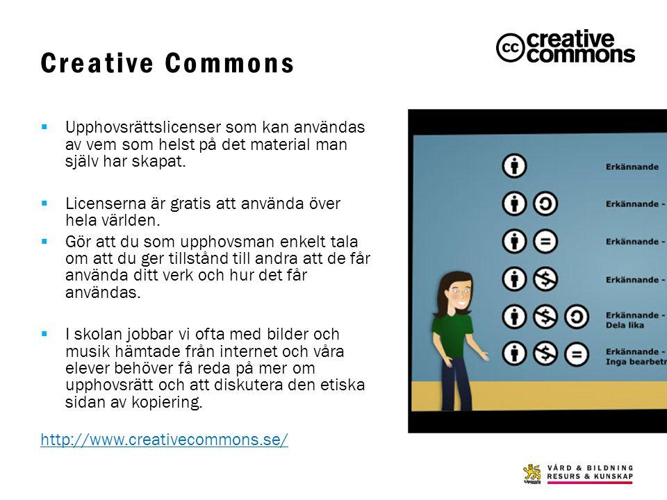 Creative Commons Upphovsrättslicenser som kan användas av vem som helst på det material man själv har skapat.
