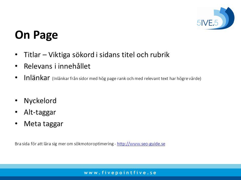 On Page Titlar – Viktiga sökord i sidans titel och rubrik
