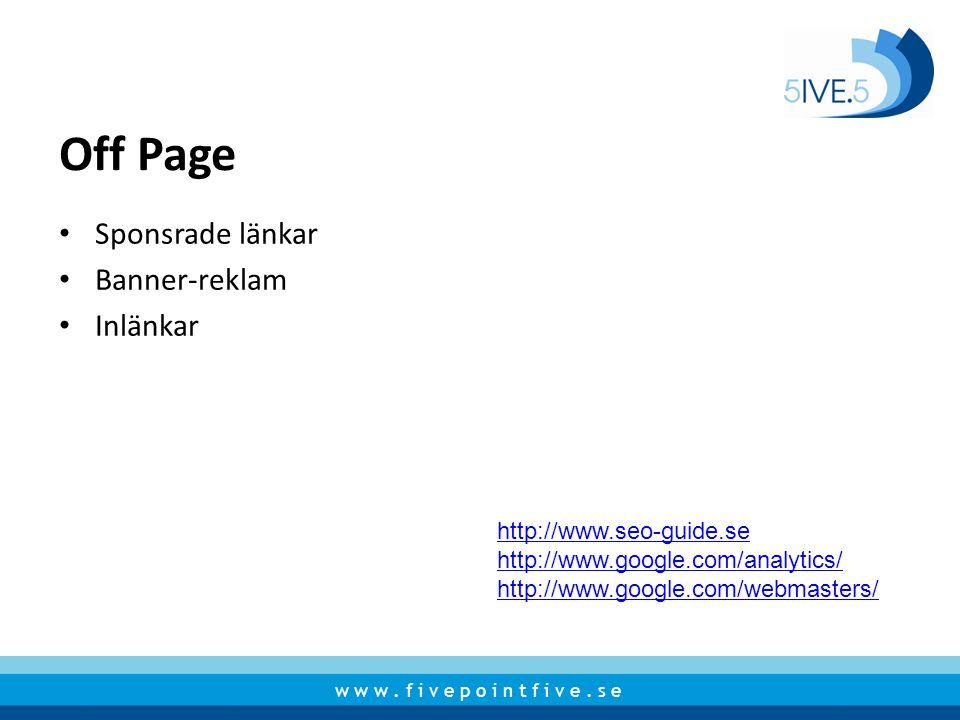 Off Page Sponsrade länkar Banner-reklam Inlänkar