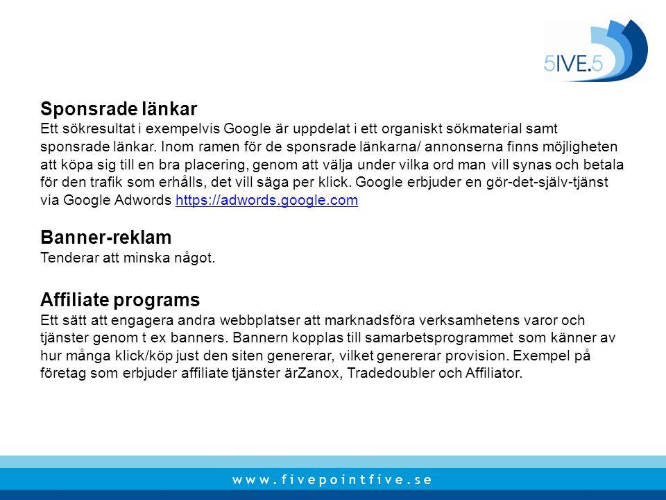 Sponsrade länkar Banner-reklam Affiliate programs