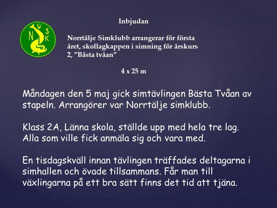Inbjudan Norrtälje Simklubb arrangerar för första året, skollagkappen i simning för årskurs 2, Bästa tvåan