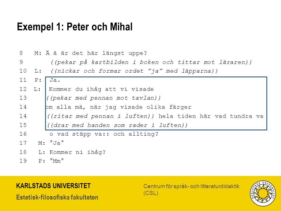 Exempel 1: Peter och Mihal