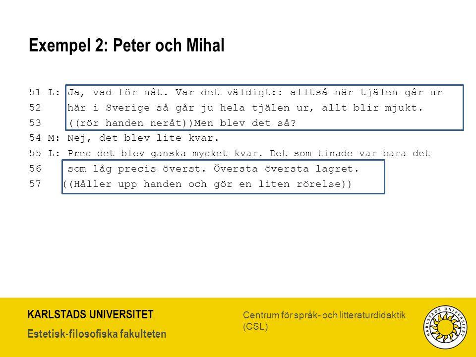 Exempel 2: Peter och Mihal