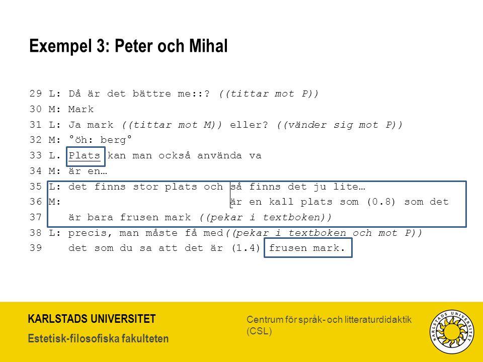 Exempel 3: Peter och Mihal
