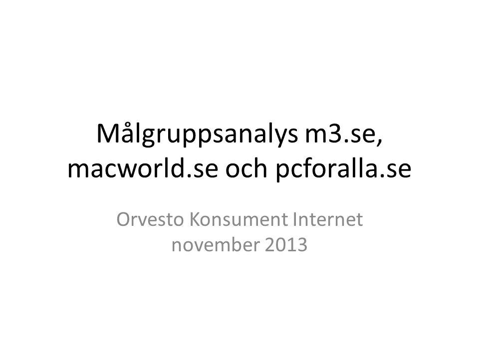 Målgruppsanalys m3.se, macworld.se och pcforalla.se