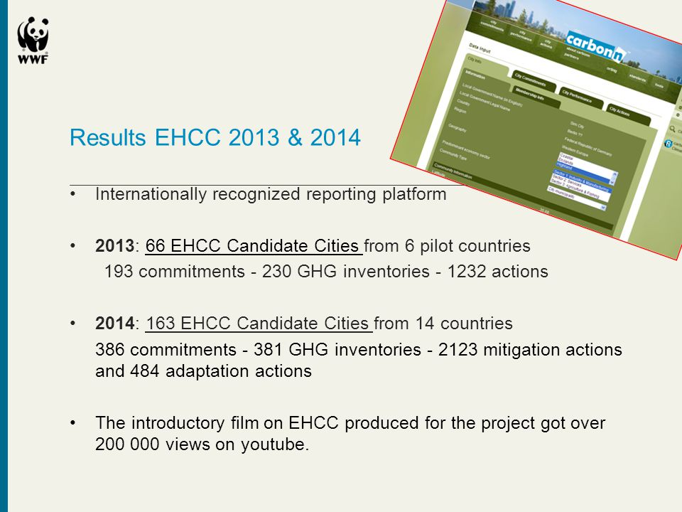 Results EHCC 2013 & 2014 Internationally recognized reporting platform