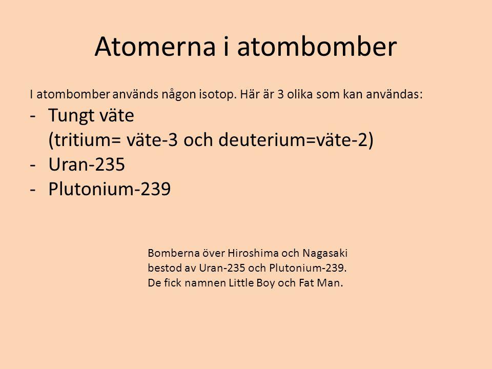Atomerna i atombomber Tungt väte