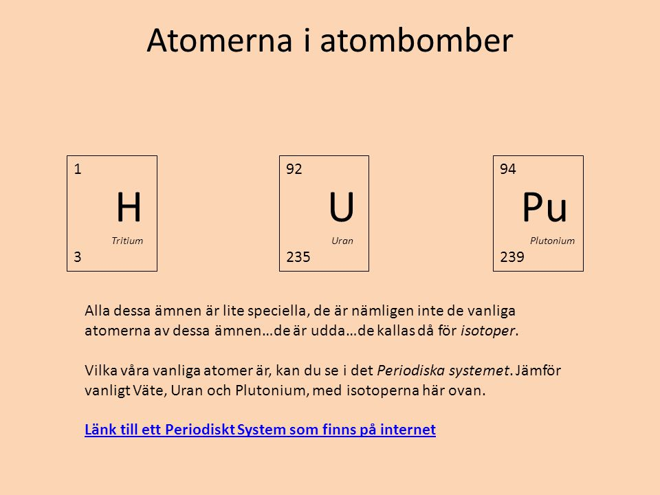 H U Pu Atomerna i atombomber 1 3 92 235 94 239