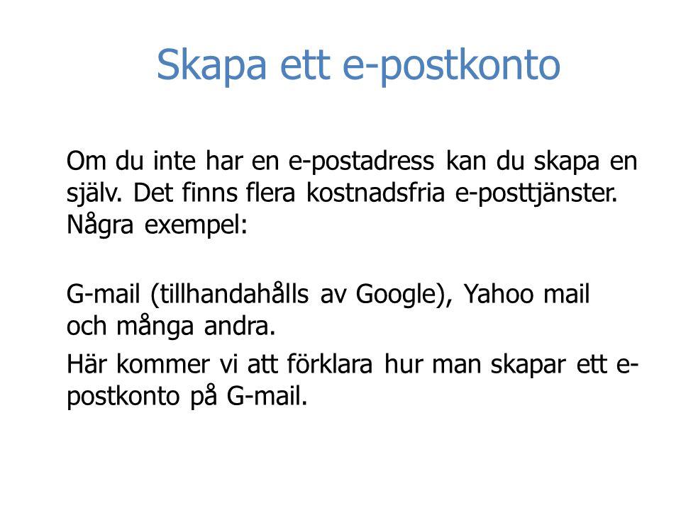 Skapa ett e-postkonto