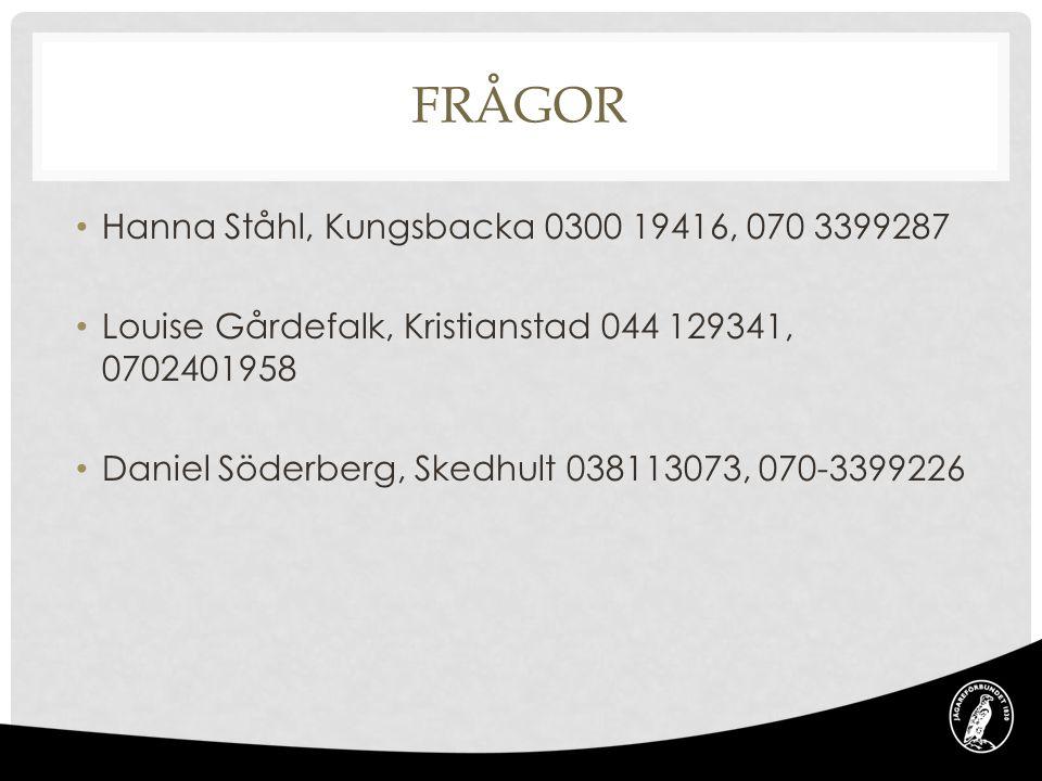 Frågor Hanna Ståhl, Kungsbacka 0300 19416, 070 3399287