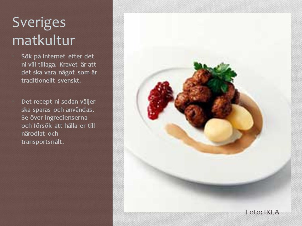 Sveriges matkultur Foto: IKEA