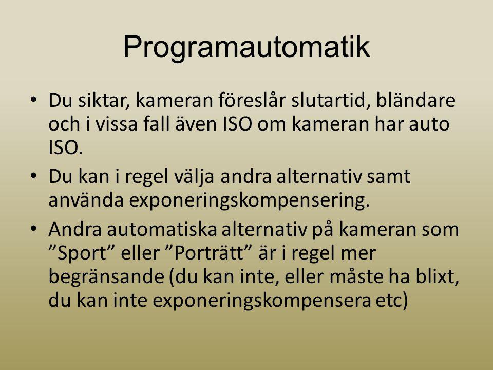 Programautomatik Du siktar, kameran föreslår slutartid, bländare och i vissa fall även ISO om kameran har auto ISO.