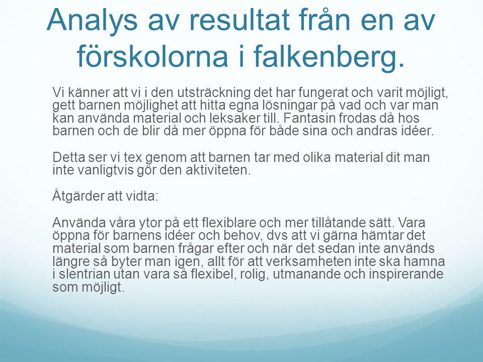 Analys av resultat från en av förskolorna i falkenberg.
