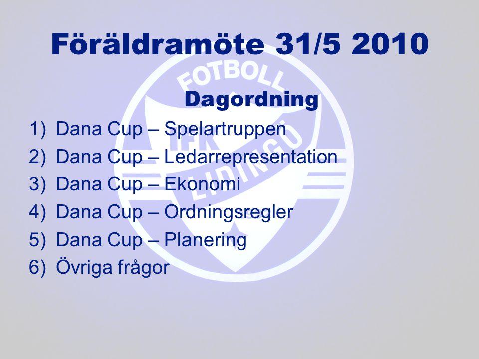 Föräldramöte 31/5 2010 Dagordning Dana Cup – Spelartruppen
