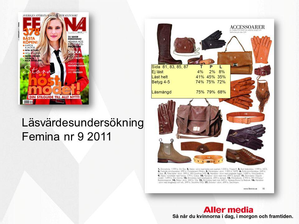Läsvärdesundersökning Femina nr 9 2011