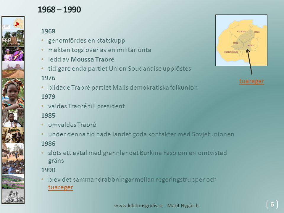 1968 – 1990 1968 genomfördes en statskupp