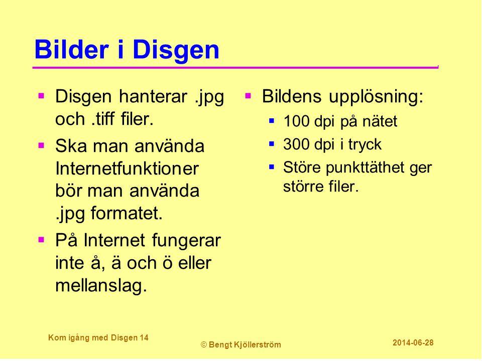Bilder i Disgen Disgen hanterar .jpg och .tiff filer.