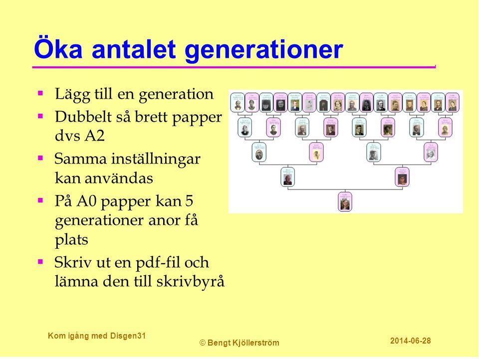 Öka antalet generationer