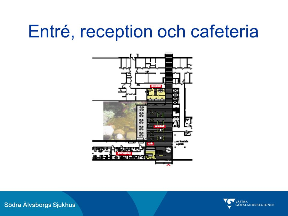 Entré, reception och cafeteria