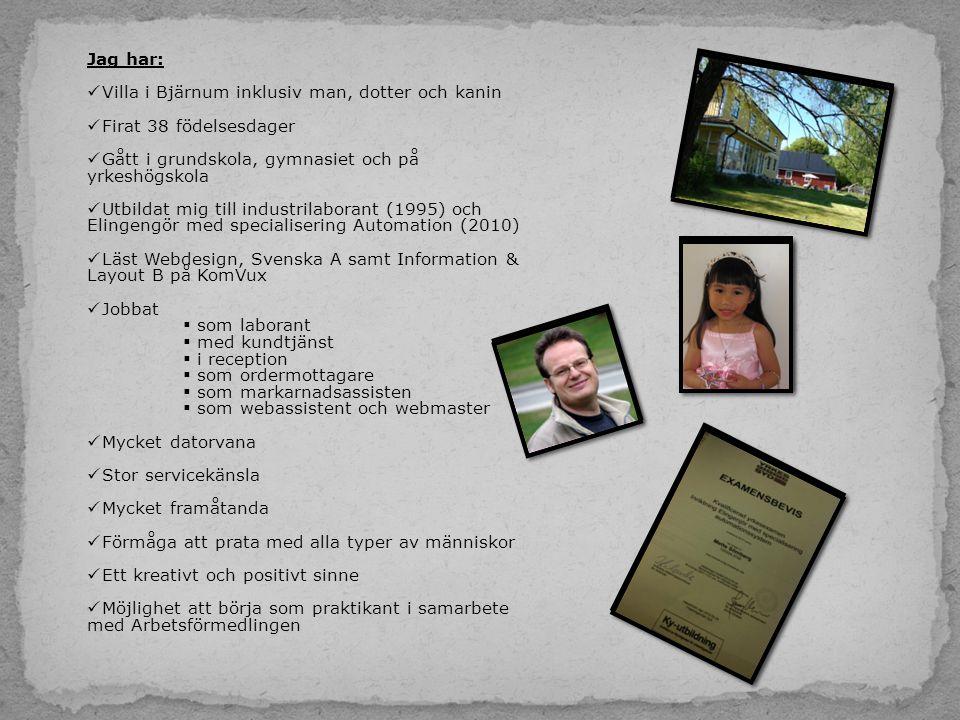 Jag har: Villa i Bjärnum inklusiv man, dotter och kanin. Firat 38 födelsesdager. Gått i grundskola, gymnasiet och på yrkeshögskola.