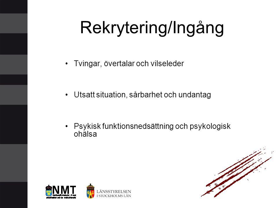 Rekrytering/Ingång Tvingar, övertalar och vilseleder