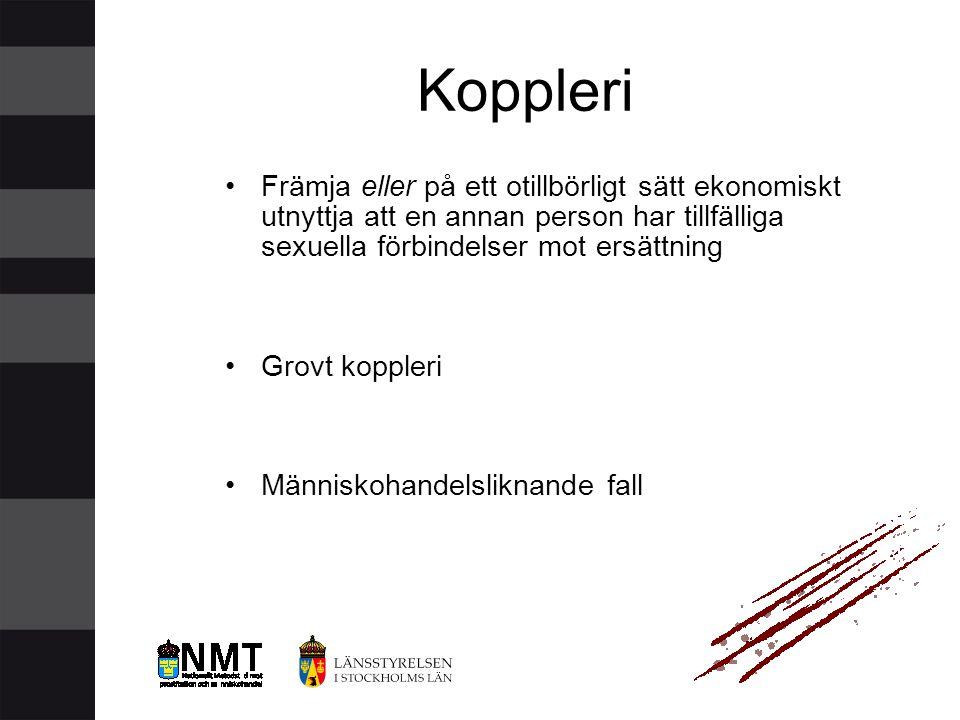 Koppleri Främja eller på ett otillbörligt sätt ekonomiskt utnyttja att en annan person har tillfälliga sexuella förbindelser mot ersättning.