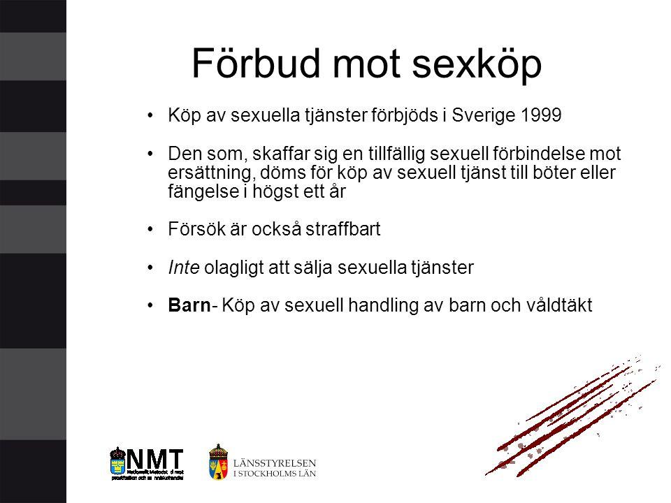 Förbud mot sexköp Köp av sexuella tjänster förbjöds i Sverige 1999