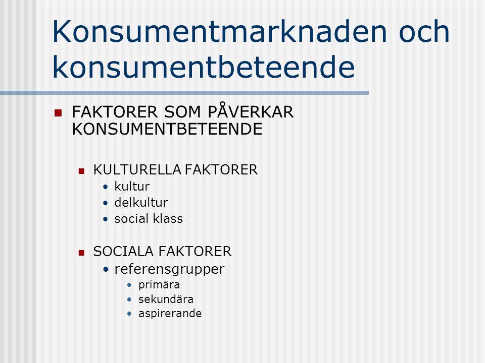 Konsumentmarknaden och konsumentbeteende