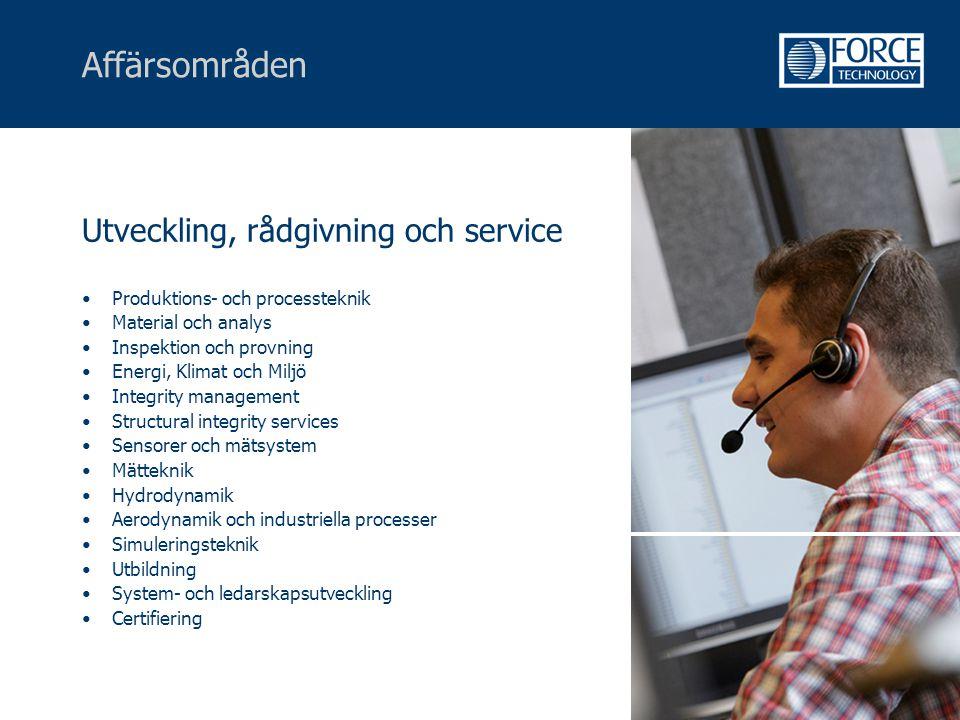 Affärsområden Utveckling, rådgivning och service