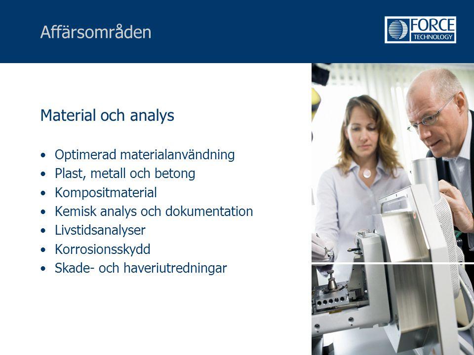 Affärsområden Material och analys Optimerad materialanvändning