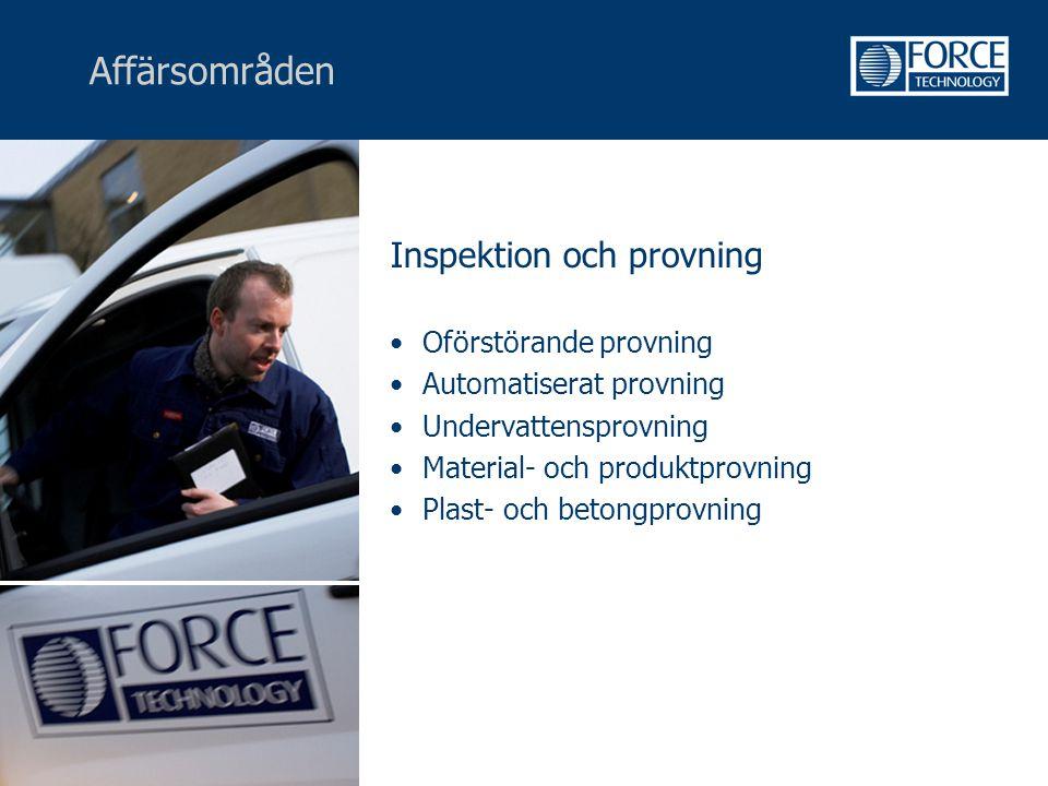 Affärsområden Inspektion och provning Oförstörande provning