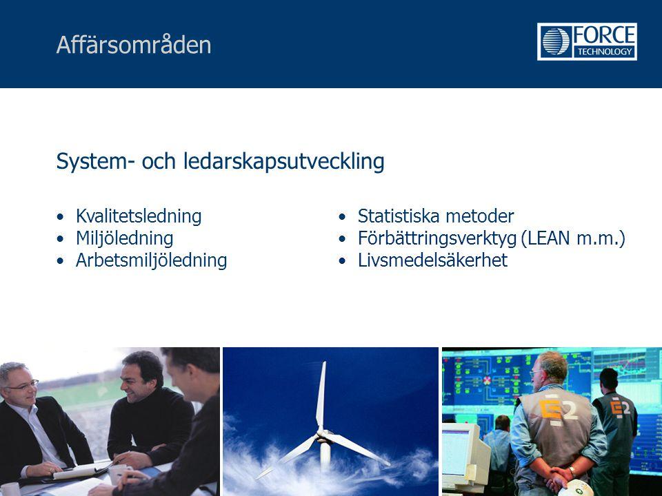 Affärsområden System- och ledarskapsutveckling Kvalitetsledning