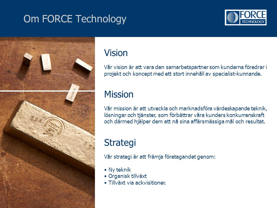 Om FORCE Technology Vision Mission Strategi