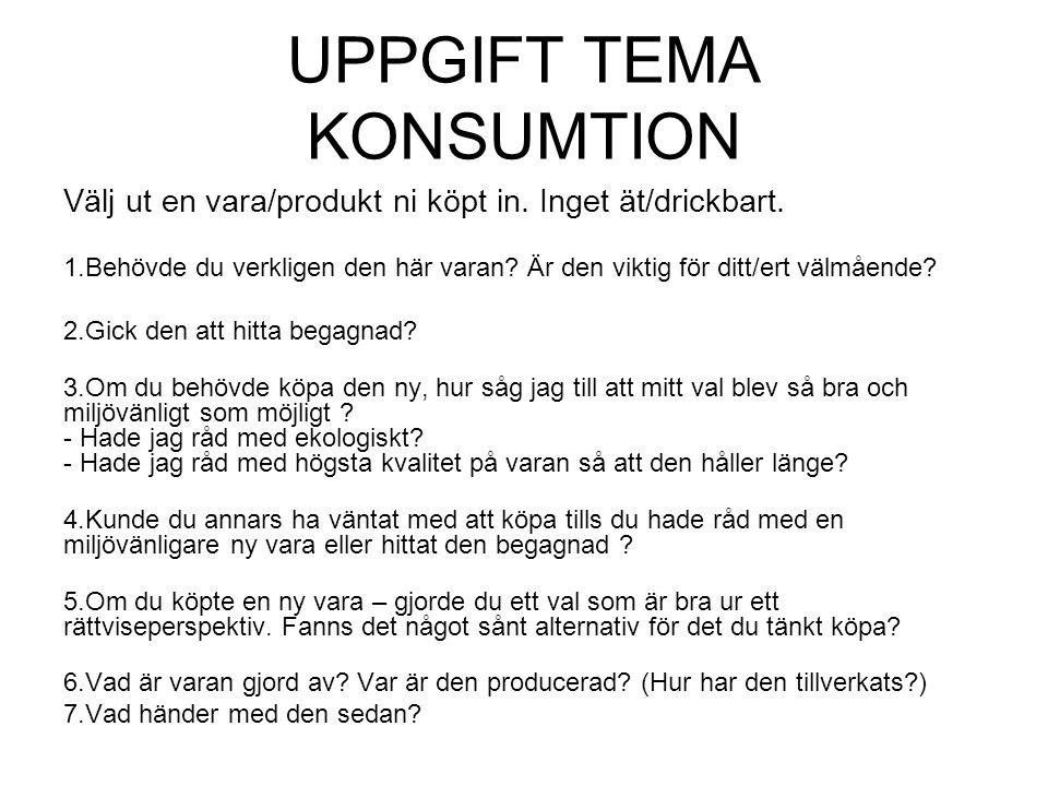 UPPGIFT TEMA KONSUMTION