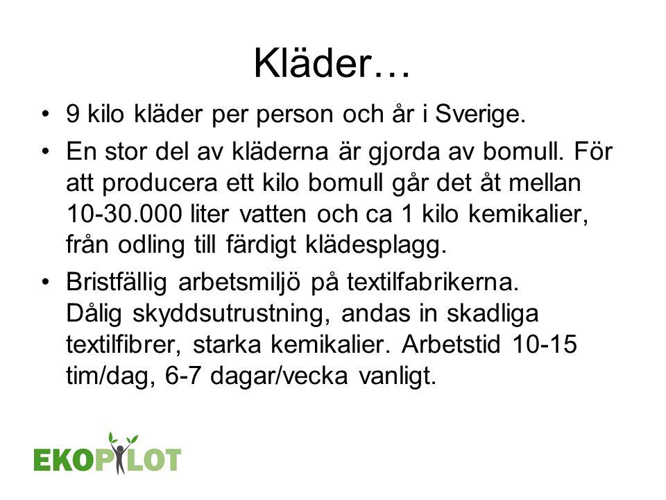 Kläder… 9 kilo kläder per person och år i Sverige.