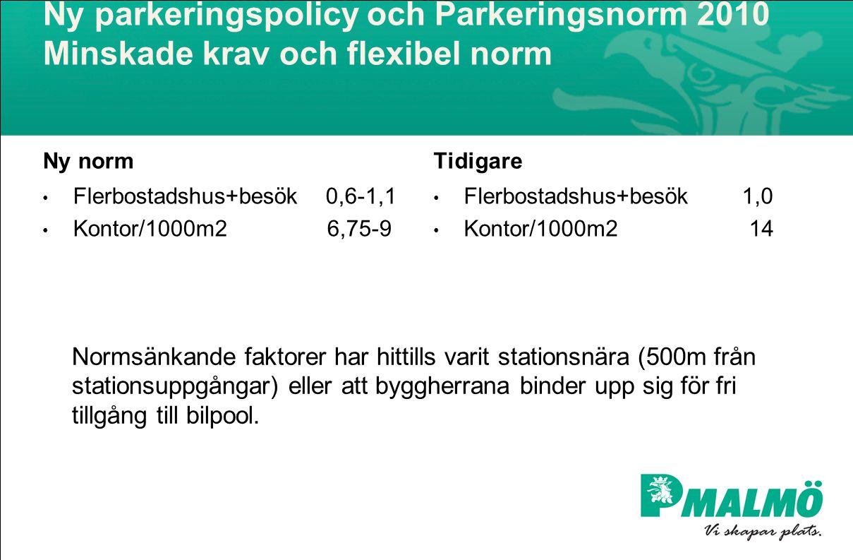 Ny parkeringspolicy och Parkeringsnorm 2010 Minskade krav och flexibel norm