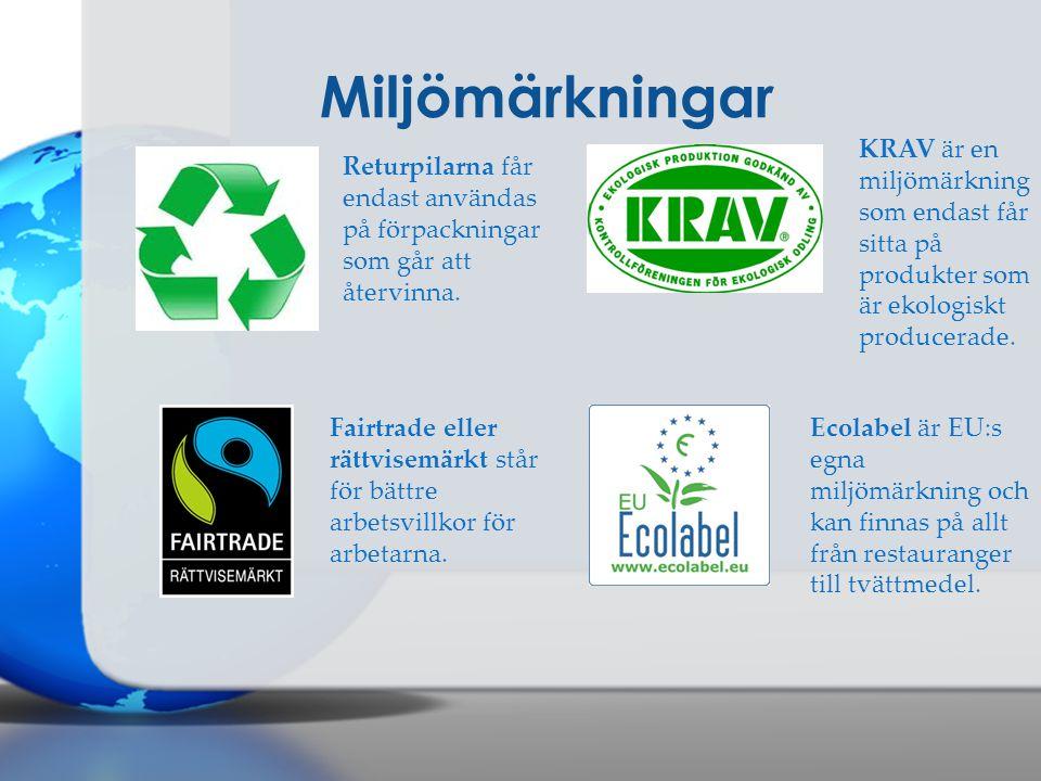 Miljömärkningar KRAV är en miljömärkning som endast får sitta på produkter som är ekologiskt producerade.