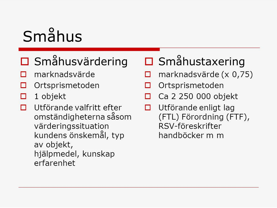 Småhus Småhusvärdering Småhustaxering marknadsvärde Ortsprismetoden