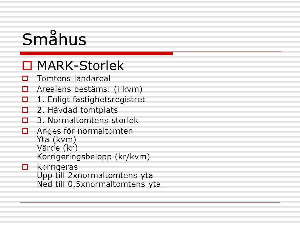 Småhus MARK-Storlek Tomtens landareal Arealens bestäms: (i kvm)