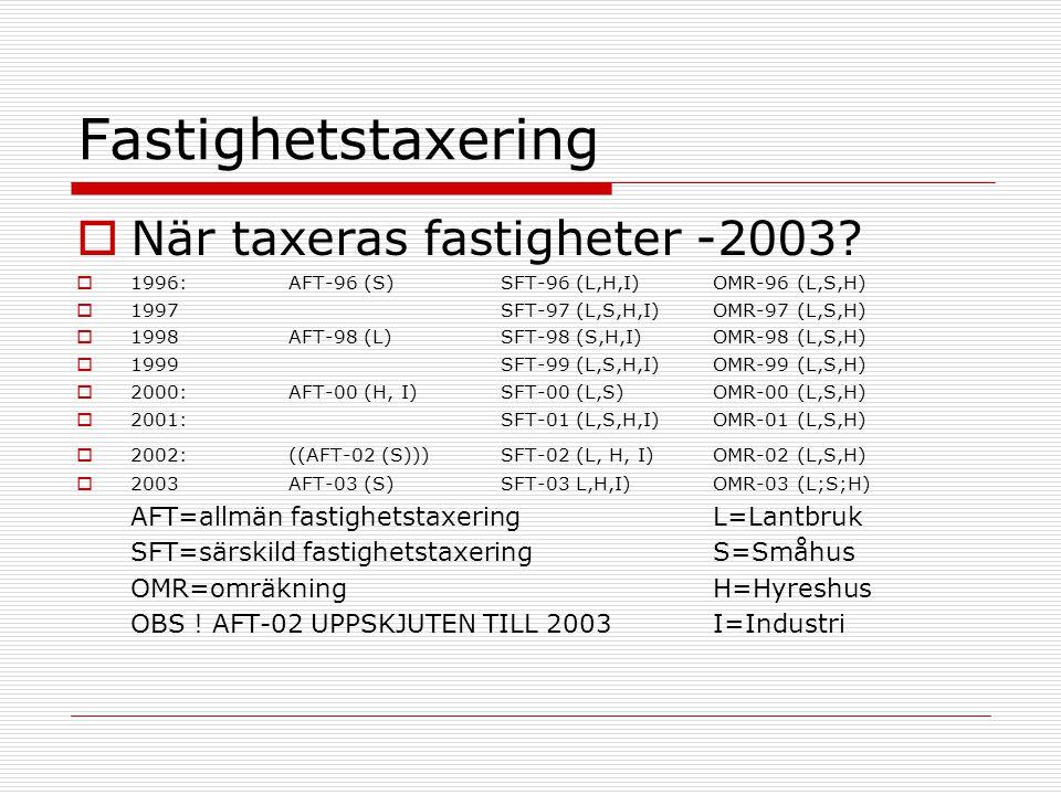 Fastighetstaxering När taxeras fastigheter -2003