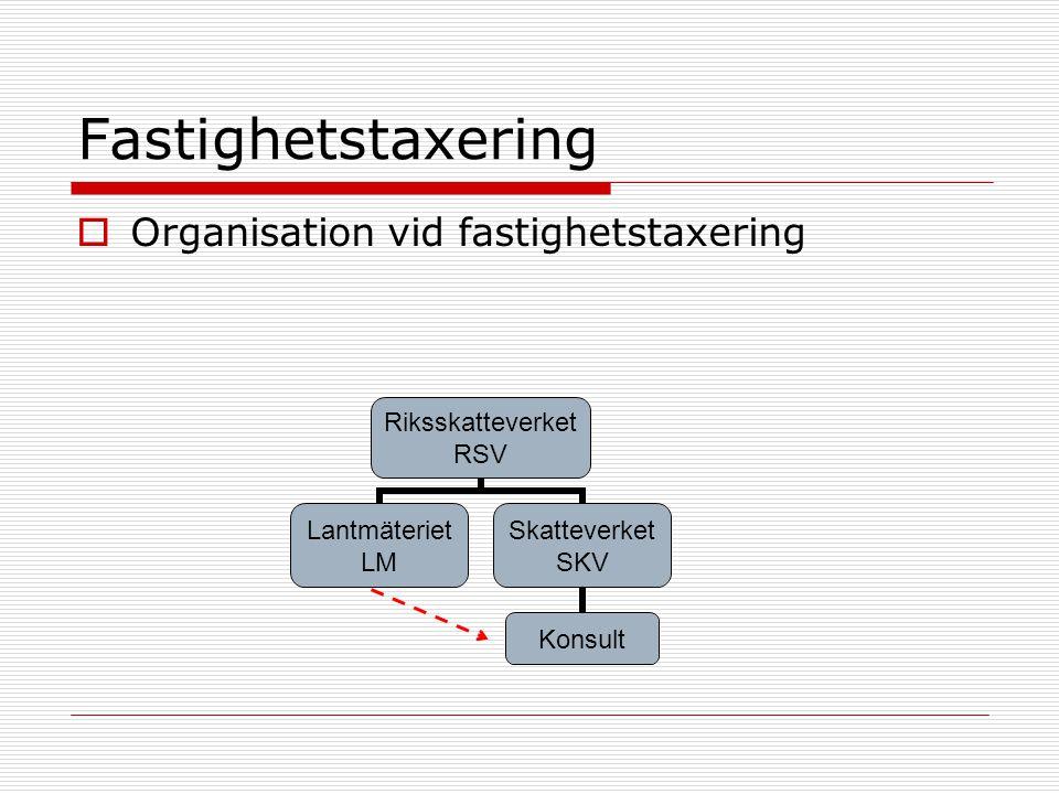 Fastighetstaxering Organisation vid fastighetstaxering