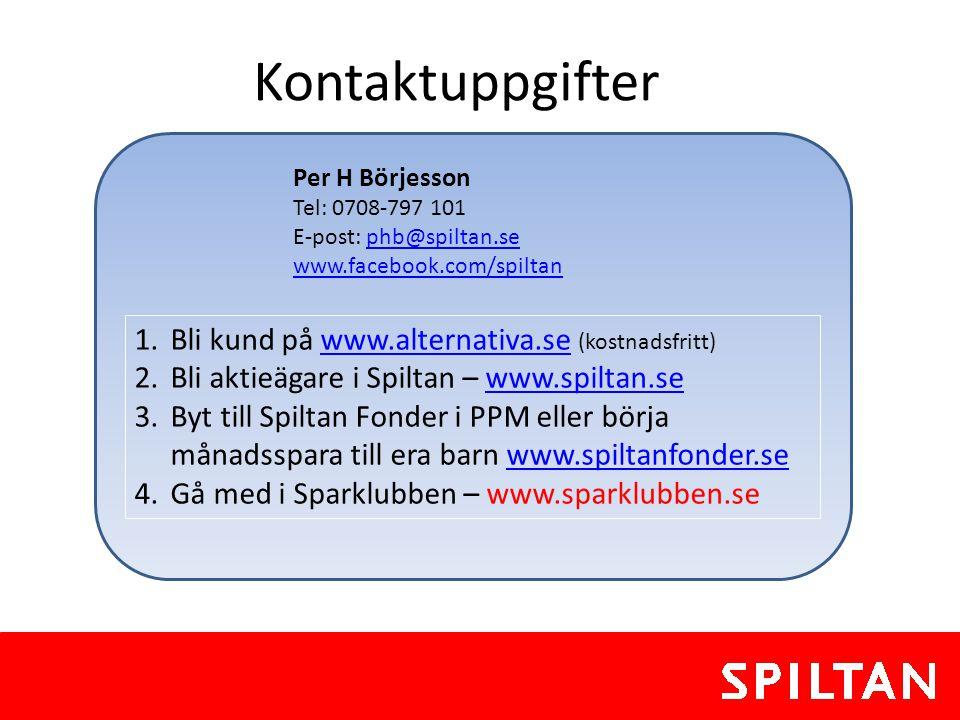 Kontaktuppgifter Bli kund på www.alternativa.se (kostnadsfritt)