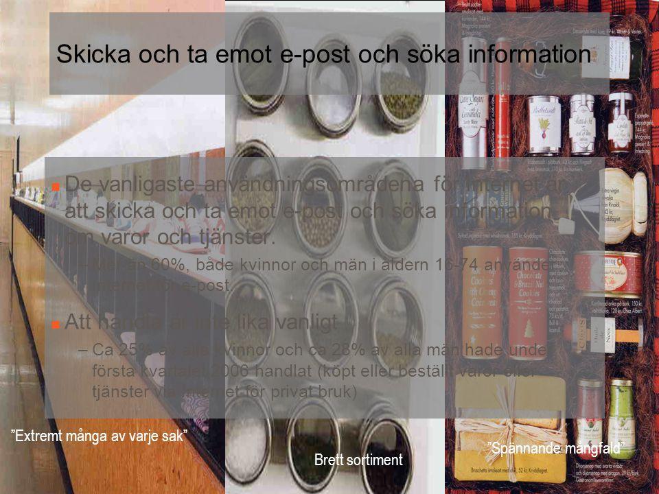 Skicka och ta emot e-post och söka information