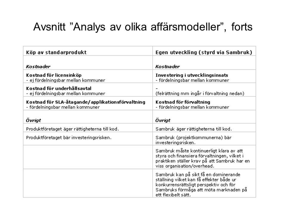 Avsnitt Analys av olika affärsmodeller , forts